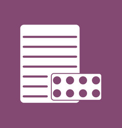 Icon pills and a prescription vector