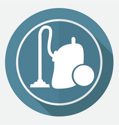 icon vacuum cleaner on white circle with a long vector image