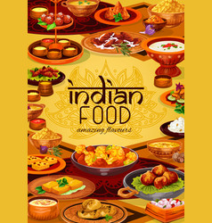 Indian dishes rice meat seafood with veggies vector