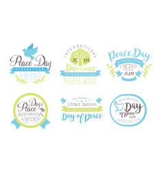 International peace day united nations templates vector