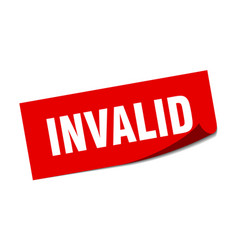 Invalid sticker square isolated label sign peeler vector