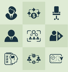 job icons set with investor business goal vector image