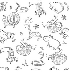 Jungle pattern african wild animals vector