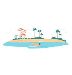 Lifeguard male character in red shorts looking vector