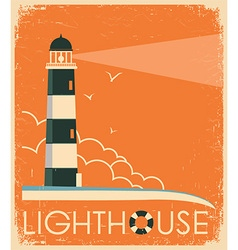Lighthouse and sky on old poster vintage image vector image vector image