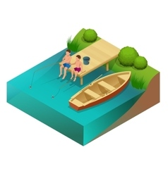 Little boys fishing in a river Sitting on a wood vector