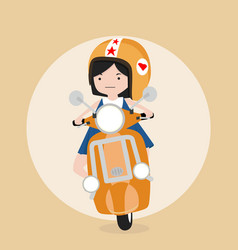 little girl riding scooter vector image