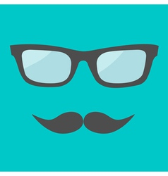 Mens glasses and moustache Flat design vector