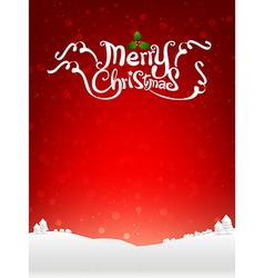 Merry christmas text with snow bakcground eps10 vector image