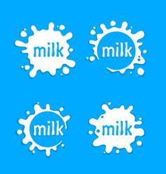 Milk labels blot sign set splashing vector