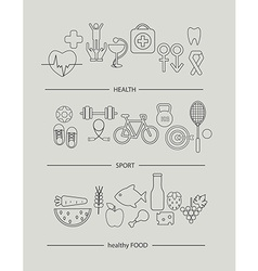 Modern thin line icons set of health lifestyle vector