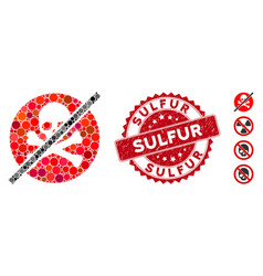 Mosaic no toxins icon with grunge sulfur stamp vector