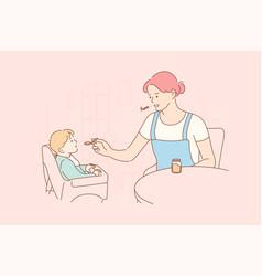 Motherhood childhood food family concept vector