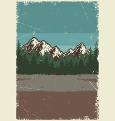 nature landscape vintage poster vector image