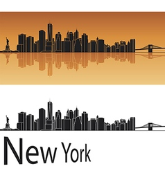 New York skyline in orange background vector