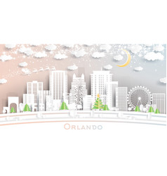 orlando florida usa city skyline in paper cut vector image