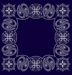 Paisley bandana- blue and white pattern vector