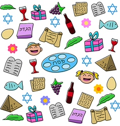 Passover Holiday Symbols Pack vector image