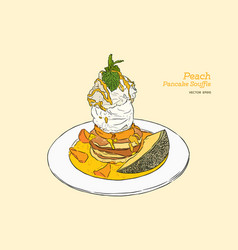 peach pancake with vanilla ice-cream hand draw vector image