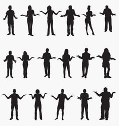 people shrugging silhouettes vector image