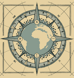 planet earth with a wind rose and old compass vector image
