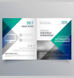 professional blue bi fold brochure template design vector image