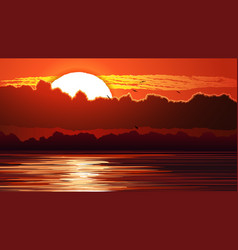 Red sunset and glare on water vector