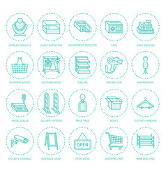 retail store supplies flat line icons trade shop vector image