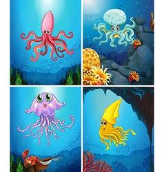 Sea animals under sea vector