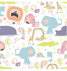 Seamless pattern with color wild animals on white vector