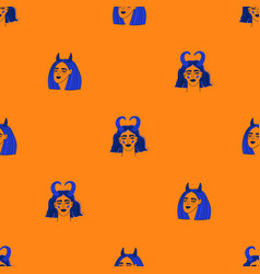 Seamless pattern with funky zodiac girl faces vector