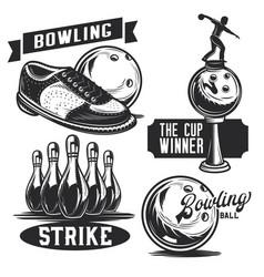 set bowling emblems labels badges logos vector image