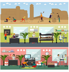Set of archaeologists concept posters vector