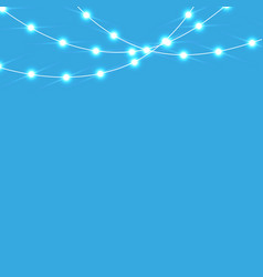 set of blue garlands festive decorations glowing vector image