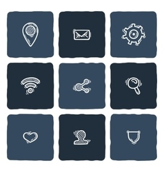 Set of doodle web computer and connecting icons vector image