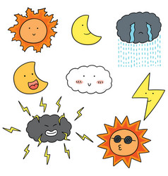 set of weather vector image