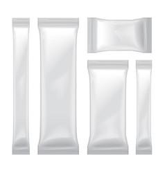 set of white blank foil bag packaging for food vector image