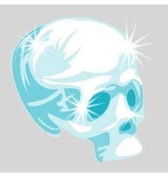shining crystal skull in cartoon style vector image