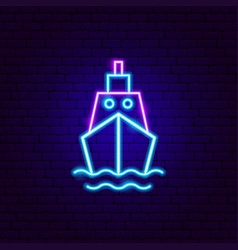 Ship front neon sign vector