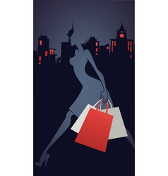 Shopping in city vector