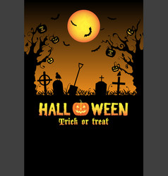silhouette halloween graveyard card vector image