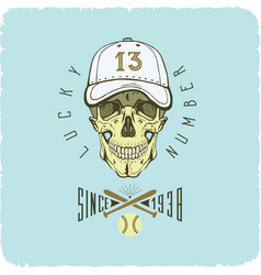 skull in baseball cap color logo art vector image