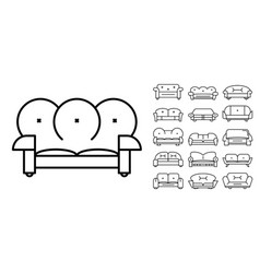 sofa icon set outline style vector image