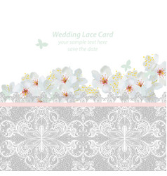 spring blossom flowers and lace wedding invitation vector image