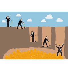 Step of businessman digging a ground to find vector