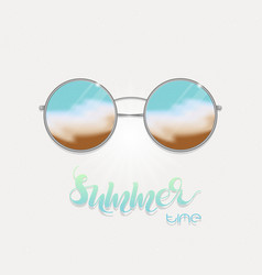 Sunglasses with sea reflection vector