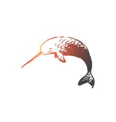 swordfish sea water wildlife seafood concept vector image