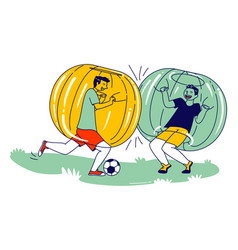 Teenager characters playing soccer inside zorb vector