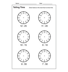 telling time telling time practice for kid vector image