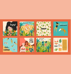 templates with fun summer vector image